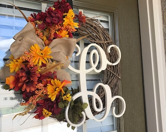 Fall Wreath, Natural Letter Wreath with Hanger, Monogram Wreath, Front Door Wreath, Wreath, Floral Wreath, Fall Wreath, Grapevine