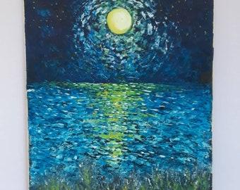 Oil on Canvas, Moonlight, Original Painting, Italian Artwork