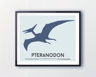 Kids art prints, Dinosaur wall decor, The Pteranodon / dinosaur print, kids room decor, art for children, Dinosaur Prints by Little Grippers