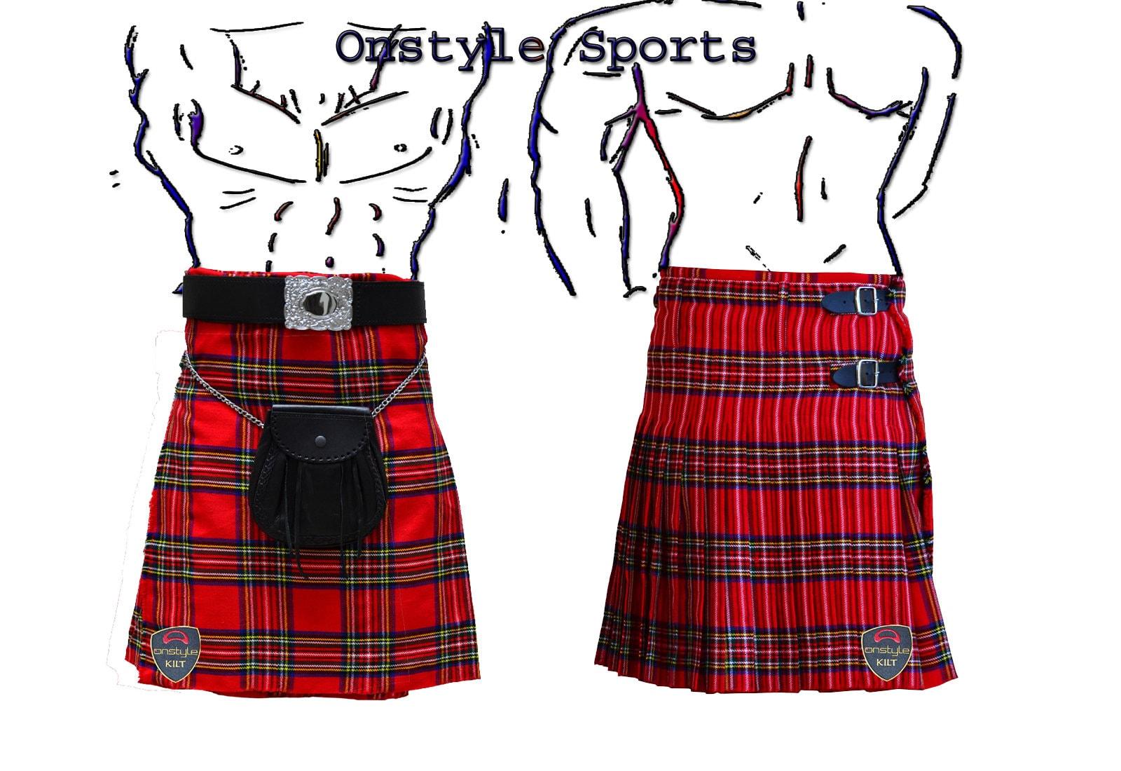 Onstyle Scottish Highland Active Men Utility Sports Royal Stewart Tartan Kilts AnvWkk6q