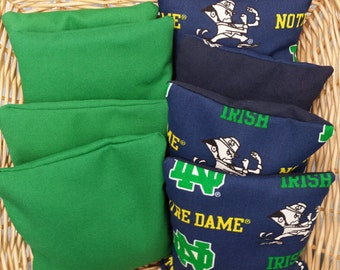 8 Corn Hole Game Bags, 4 Green and 4 in a Hard to find Notre Dame print fabric