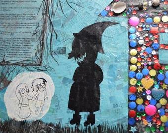 "Large Collage on Canvas ""Hansel & Gretel"""