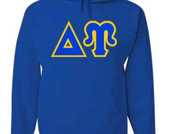 Delta Upsilon Jumbo Twill Hooded Sweatshirt (Royal Blue/Light Gold)
