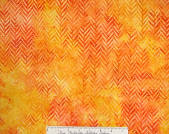 Artisan Batik Fabric - Geoscapes 3 Orange & Yellow Chevron Robert Kaufman YARD