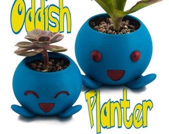 Oddish Planter | pokemon planter, Succulent Planter, Cactus Planter, Oddish Pot, 3D Printed Pokemon Gift, Cute Planter, Bulbasaur Planter