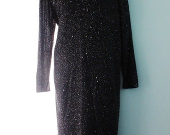 Vintage Black Dress Beaded Long Sleeve Size 10 Medium Cocktail Dressy Occasion