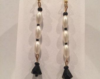 """Acrylic Bead & Faux Pearl Earrings - 2"""" Drop - #12022"""
