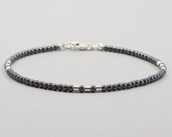 Hematite Bracelet for Women, Beaded Bracelet, Hematite, Minimalist, Handmade, Boho Jewelry, Silver, Boho Bracelet, Gemstone, Gift for Her