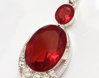 new stock sterling silver 925 ruby red oval and colorless rhinestone pendant