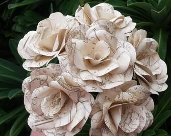 6 x Vintage Map Roses, Paper Flower Roses, Bouquet, Paper Roses, Bridal Bouquet, Travel Wedding, Vintage Map Bouquet