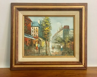 Vintage Signed Henry Rogers Oil Painting on Canvas - Paris Street Scene, Impressionist Art,Impressionism