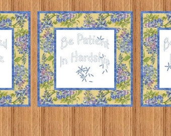 BE JOYFUL --- Hand Embroidery E-Pattern Printable Download Pdf Diy Simple Free Shipping Easy to Do Blue White Bluework Christian Home Decor