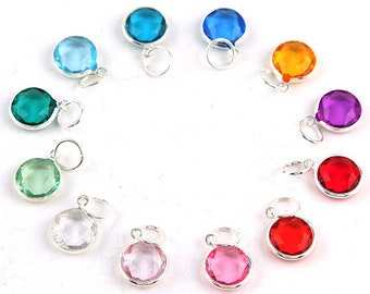 12 pcs Birthstone Metal Colored Clear Silver Plated  Charms Pendants 12 mm Acrylic Necklace and Bracelet