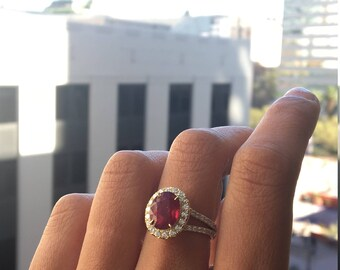 Gorgeous 9.48ct RUBY ring accented by 1.38ct Diamonds