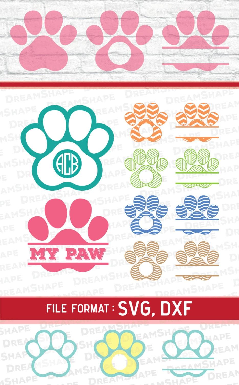 Svg Paw Cut Files Vinyl Cutters Monogram Cricut Files