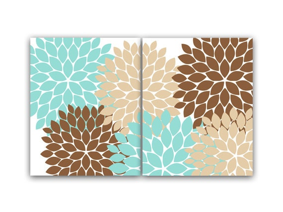 home decor wall art teal and brown flower canvas burst art. Black Bedroom Furniture Sets. Home Design Ideas