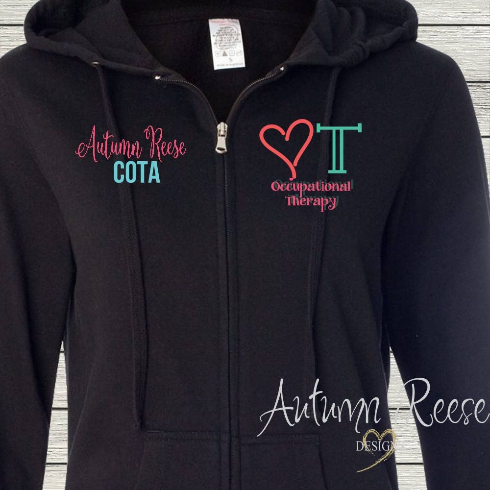 Monogrammed Ladies/Unisex Full-Zip Hooded Sweatshirt Occupational Therapy OT COTA Customized Personalized XS - 5XL Jacket nyGROKYkK