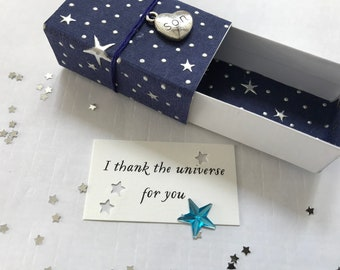 Thank the Universe (Son) Message Box/Gift Box with fabric gift bag
