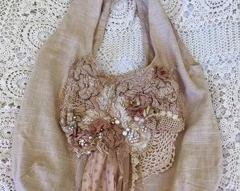Boho Bag, Vintage lace bead bag, Embellished Linen Mix bag, Tote bag, Beige Bag