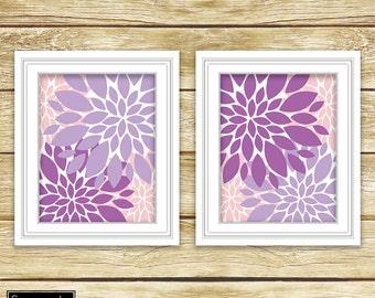 Floral Flower Burst Purple Pink Wall Art Bedroom Livingroom Nursery Flowers Decor Printable 11x14 Digital JPG Instant Download (34)