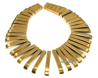 Gold Hematite Gemstone Graduated Set Stick 30x4-12x4mm Loose Beads 7 inch (90189341-199)