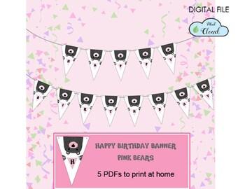 Birthday printable banner, happy birthday printable, happy birthday flags, birthday decor, birthday party, woodland party, bear birthday
