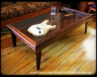 Handmade Walnut Modern-Style Shadow Box Guitar Display Case Coffee Table
