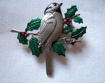 Vintage Signed JJ Silver pewter Chickadee on Branch Brooch/Pin