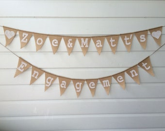 Custom Made Engagement Party Bunting Banner Personalised Names Sign Wedding