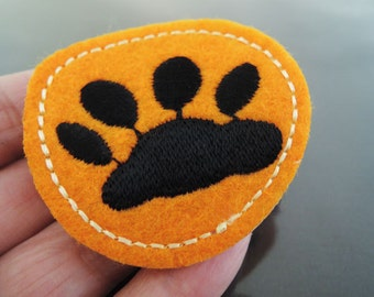 Paw Patches - Iron on Patch Paw Print Patch Orange Black Paw Applique Embroidered Patch Sewing Patch