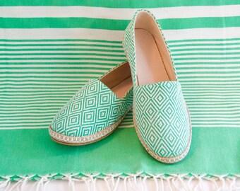 Handmade Espadrilles // Green & White // Emerald Isle // Spring - Summer Shoes // Size EU 37 (US W 7, M 6)