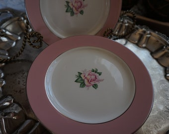 Vintage, Set of Eight Lifetime China Co. Pink Rose Bread and Butter Plates