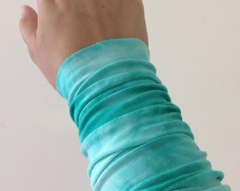 Wrist cuff bracelet, Arm Band, aqua tie dye fabric cuff bracelet, wrist cover, Tattoo cover up, fabric bracelet, custom