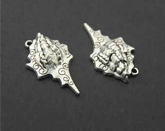 10pcs Antique Silver Ocean Conch Charms Pendant A2231