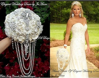 Custom Jeweled Wedding Bouquet, Cascading Pearl Brooch Bouquet, Ivory and Silver Jeweled Bouquet, Wedding Keepsake Bouquet, DEPOSIT ONLY