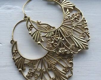 Tribal Deco Boho Floral Hook Earrings in Brass or Silver