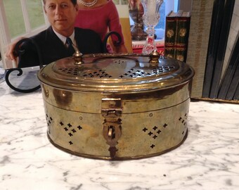 Vintage Lacquered Brass Beetle Nut or Cricket Box, c1950