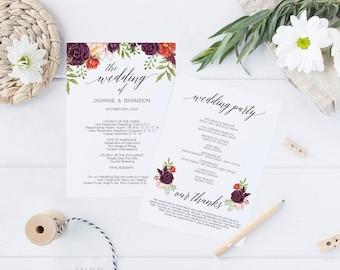 Printable Wedding Program, Burgundy Marsala Wedding Program Template, Ceremony Printable Template, Editable PDF Instant Download #E042