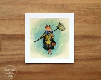 Fox Flower Guardian - Mini Fine Art Print
