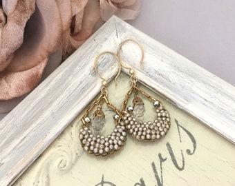 Assemblage Jewelry Earrings, Dangle Earrings Gift for Mom, Vintage Pearl Earrings, Repurposed Earrings, Crystal Earrings, Gold Filled