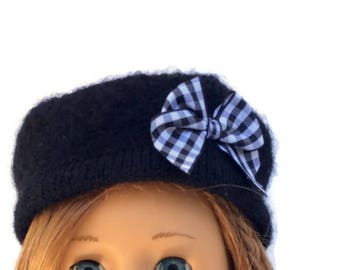 18 Inch Doll Hat, Black Wool Doll Hat, Russian Style Hat, Winter Doll Clothes, Girl Doll Clothes, Upcycled