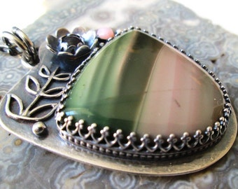 Pink and Green Imperial Jasper Flower Pendant with Rhodolite Garnet and Pink Opal in Sterling Silver Necklace Jewelry