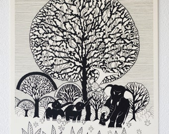 Tree of Life, Hand-Pulled Limited Edition Screenprinted Poster. Black on White. 100% Made in the USA.