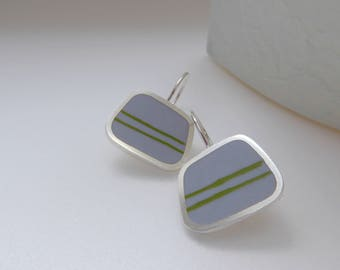 Striped Square Silver Earrings - Titanium Grey Drop Earrings - Contemporary Jewellery - Graphico Grey Striped Earrings
