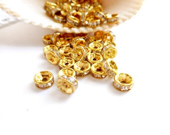 20 Gold Rondelle Spacer Beads With Clear Crystal Rhinestones - 17-14A