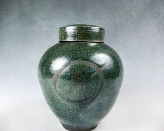 Pet Urn or Keepsake Urn Raku Green Crackle Glaze with Continuum of Life Emblem