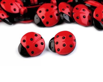 6 red and black Ladybug buttons