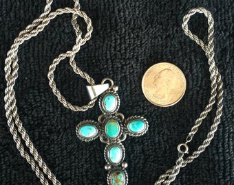 Turquoise cross etsy lovely signed sterling turquoise cross pendant and heavy long sterling rope chain long necklace aloadofball