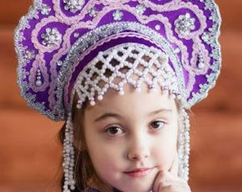 "Headdress Kokoshnik ""Larisa"" - Russian traditional Folk Costume"