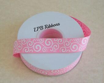 """7/8"""" Pink glittered swirls ribbon, pink swirls, pink ribbon, US Designer ribbon, Glittered ribbon"""